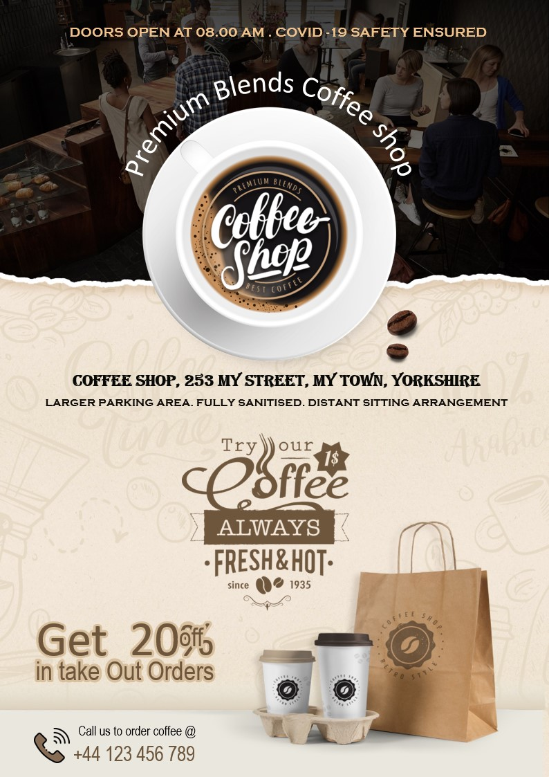 Flyers and leaflets for cafes