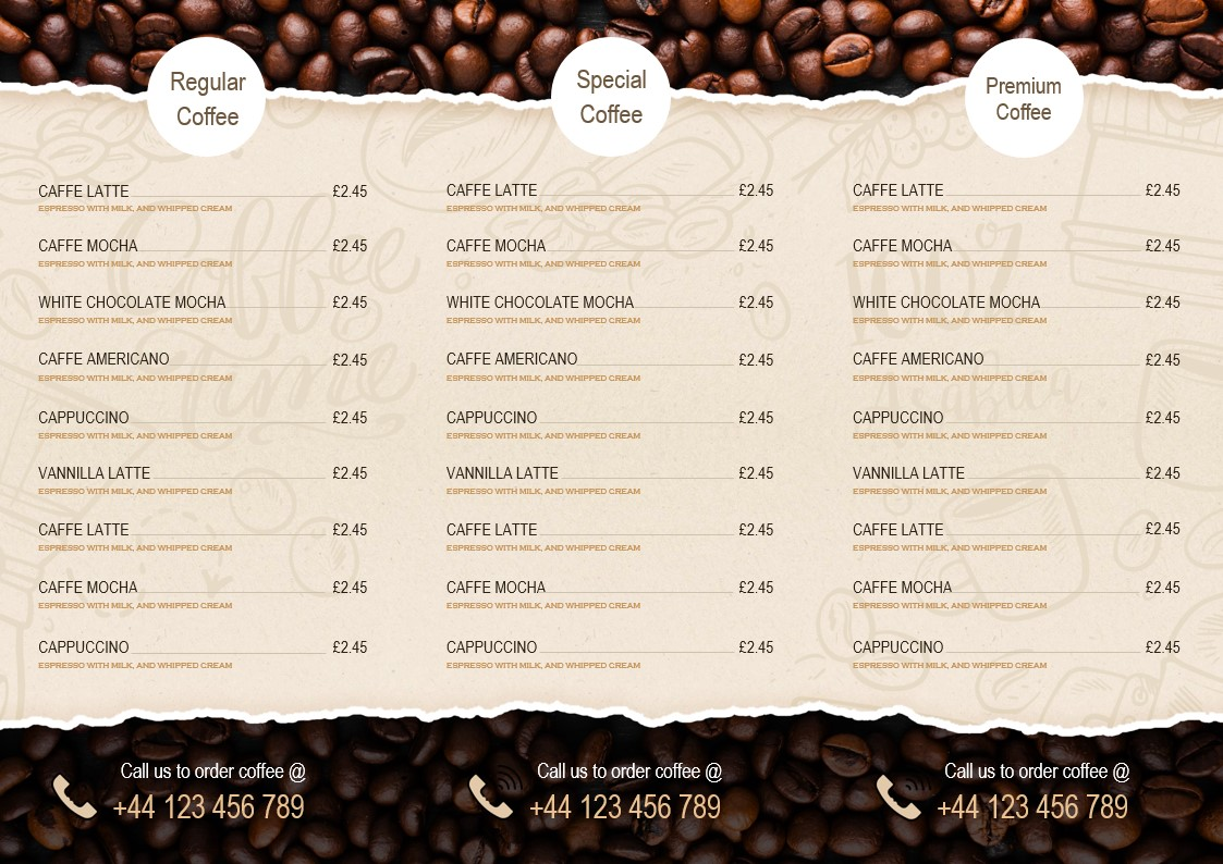 Folded menus for cafes and coffee shops