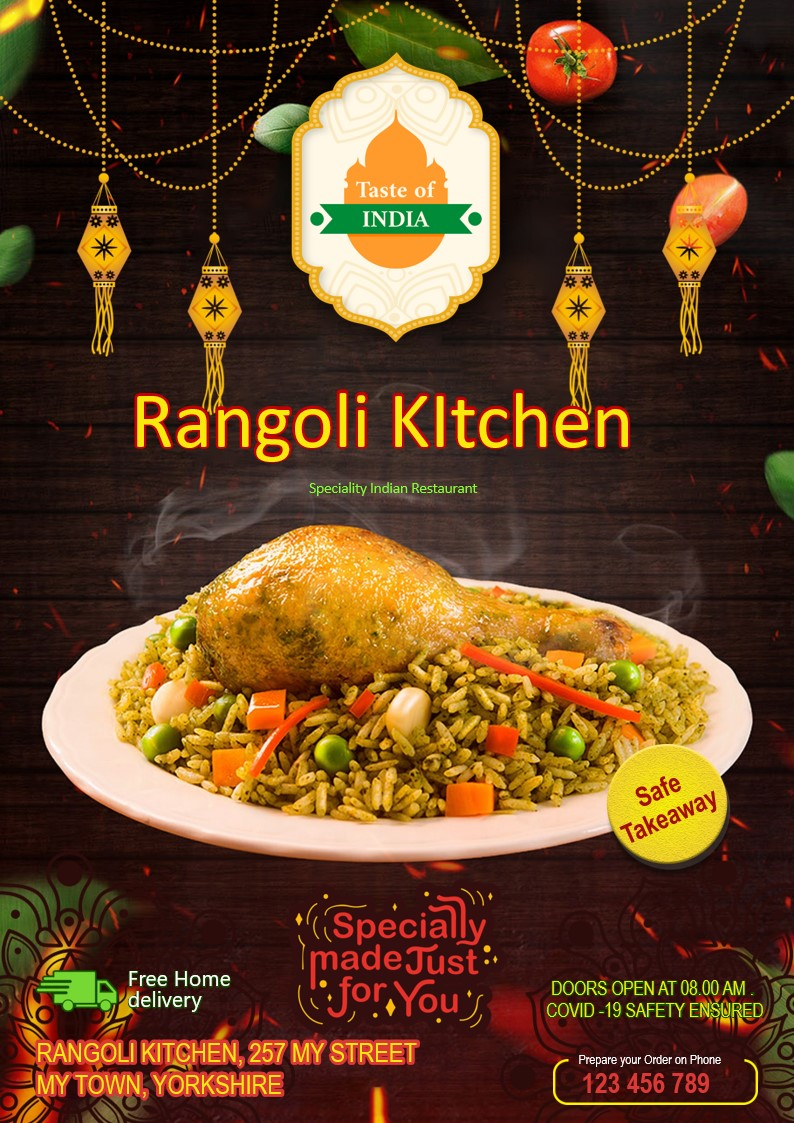 Flyers and leaflets for Indian restaurants